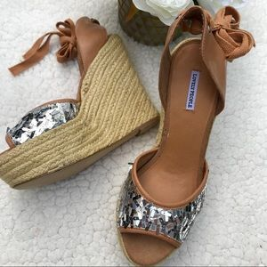 LOVELY PEOPLE Silver Sequin High Rope Wedge Sandal